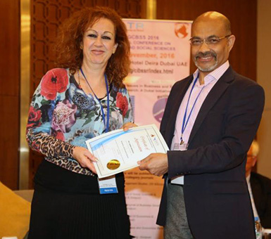 CUD Professor Receives Academic Achievement Award at International Social Sciences Conference
