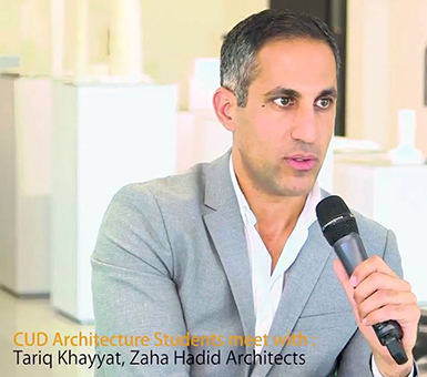 Students meet with Tariq Khayyat from Zaha Hadid Architects