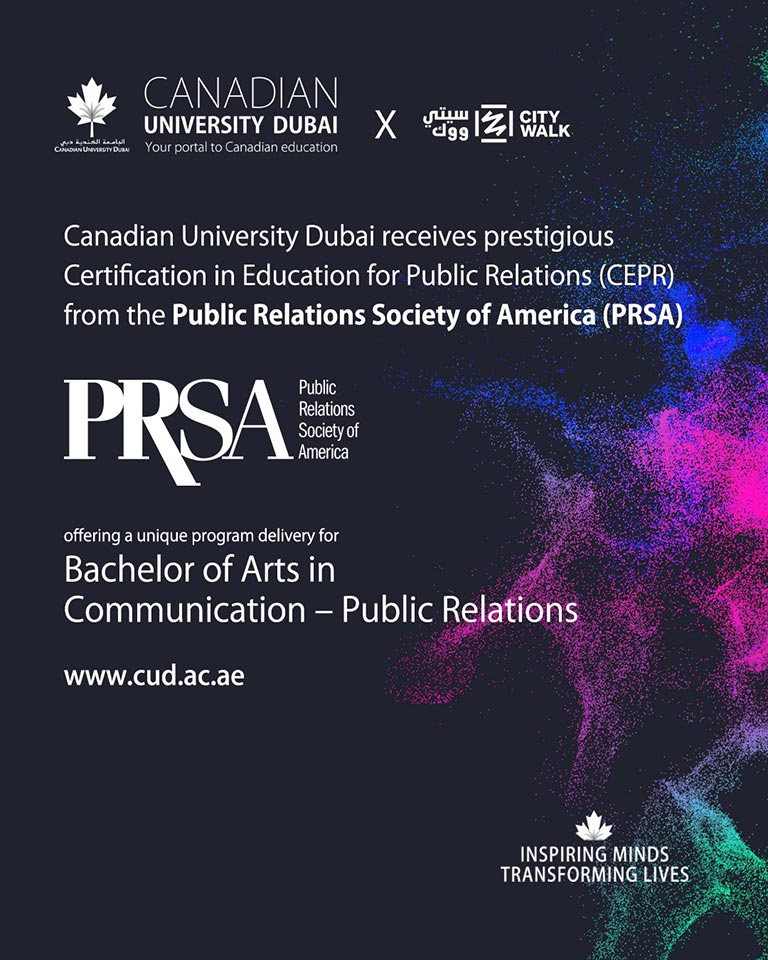 Canadian University Dubai receives prestigious Certification in Education for Public Relations (CEPR) from the Public Relations Society of America (PRSA)