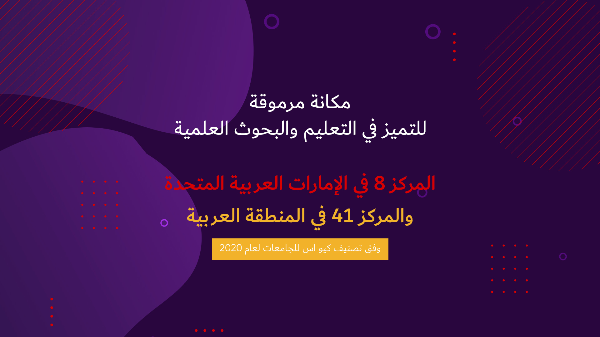 (Arabic) QS Ranking 41st of Top 50 Arab Region Universities - with info