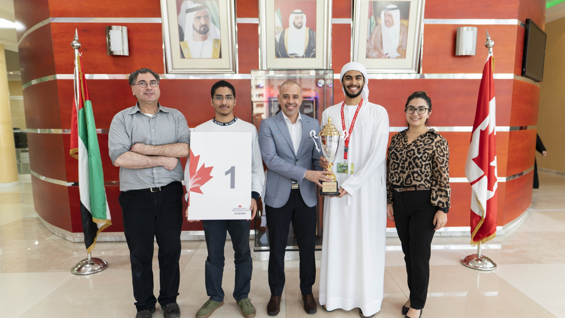 """Morshedy"", an AI powered drone equipped with Bluetooth wireless speaker, was awarded the first prize at Innovation Day celebrated at Canadian University Dubai."