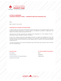 Corporate Incentive Program Letter of Agreement